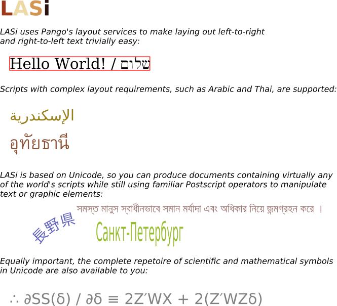 The LASi Unicode Postscript Printing Engine Project